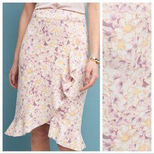 Anthropologie Suede Floral Skye Ruffled Midi Skirt
